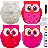 4 Sets DIY Ceramic Owls Figurines Paint Craft Kit Unpainted Bisque Ceramics PaintableOwls Ceramics Ready to Paint for Kids Valentine's Day Holiday at-Home Classroom DIY Craft Project