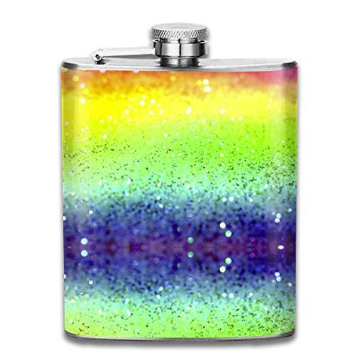 Flachmann mit Regenbogen-Glitzer, auslaufsicher, Alkohol, 304 Edelstahl, 200 ml, Geschenk-Box für den Außenbereich