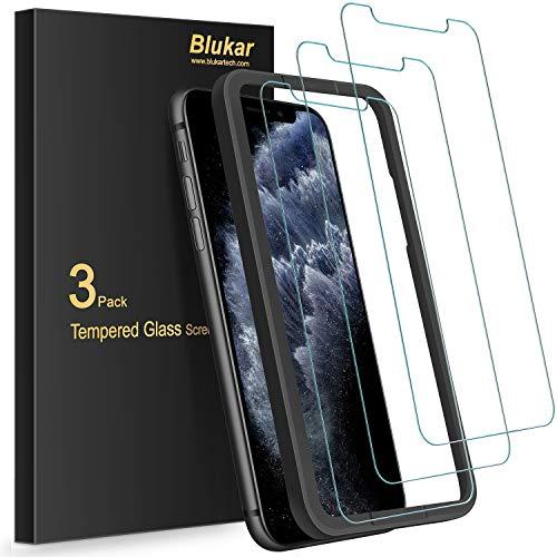 Blukar Panzerglas Kompatibel mit iPhone 11 Pro, iPhone XS und iPhone X mit Positionierhilfe, 9H-Härte, Hüllenfreundlich, Anti-Bläschen, 3 Stück