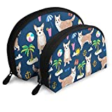 Portuguese Podengo Dog Summer Beach Travel Portable Cosmetic Bags Organizer Set of 2 for Women Teens Girls