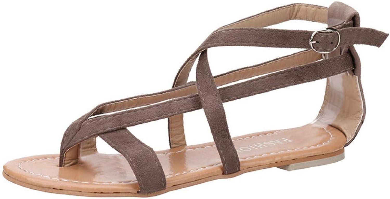 T-JULY Womens Flat Wedge Sandals Flip Flops Ladies Flock Rome Tie up Buckle Strap Platform Summer Gladiator shoes