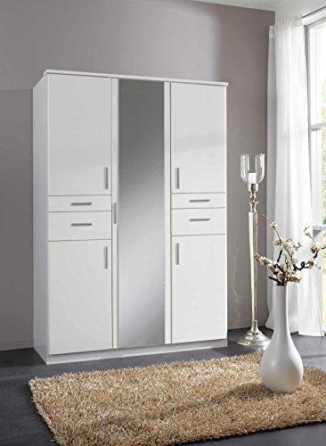 lifestyle4living Kleiderschrank, Weiß, 135 cm | Drehtürenschrank mit 5 Türen, 4 Schubladen, 3 Kleiderstangen, 3 Einlegeböden im modernen Stil