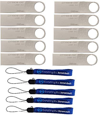 Kingston (TM) Digital 32GB DTSE9 G2 Data Traveler 10 Pack 3.0 USB High Speed Flash Drive with (5) Everything But Stromboli (TM) Lanyards