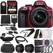 Nikon D3300 DSLR Camera with 18-55mm AF-P DX Lens (Red) + 64GB SDXC Card + Remote + Flash + Cleaning Cloth Bundle 2