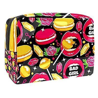 Lip Rose Macaron Diamond Lollipops Trousse de maquillage multifonction étanche avec fermeture éclair pour femme