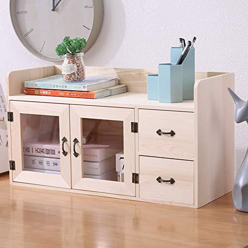 Yjdr Desktop-Aufbewahrungsschrank Massivholz-Kosmetik-Aufbewahrungsbox mit kleinen Möbeln auf dem Tischregal chinesischer Aufbewahrungsbox-Schublade 520 * 20 * 28mm (Color : Beige)
