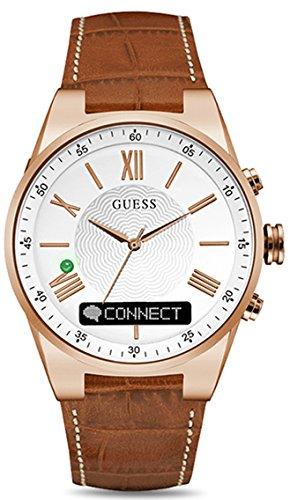 guess- Connect Reloj para Hombre Analógico de Cuarzo con Brazalete de Piel de Vaca C0002MB4