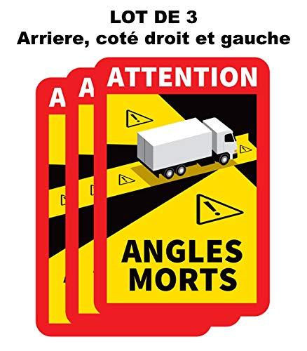 Générique - Set di 3 adesivi di avvertimento, angoli morti, pesanti, camion, veicoli pesanti