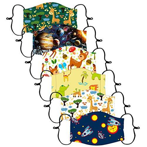 Lulupi 12 Stück Kinder Mundschutz Multifunktionstuch 3D Cartoon Druck Maske Animal Print Atmungsaktiv Baumwoll Stoffmaske Waschbar Mund-Nasenschutz Universum Planet Motiv Bandana Halstuch Schals