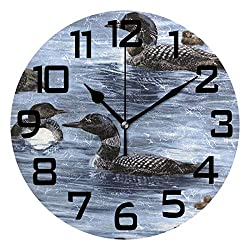 Loons Duck Animal Round Acrylic Wall Clock, Silent Non Ticking Battery Decorative Home Kitchen Classroom Office School