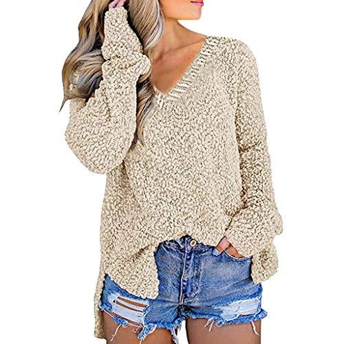 ➤Refill➤Damen Langarm Strickpullover Pullover V-Ausschnitt Langarmshirt Lose Sweatshirt Pullover Oberteil Tops Hemd Oversize Tunika Bluse Shirt