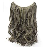 20' Synthetic Wavy Halo Hair Extension Natural Hairpieces No Clip No Glue No Tape Size Can Be Adjusted (4AP24A)