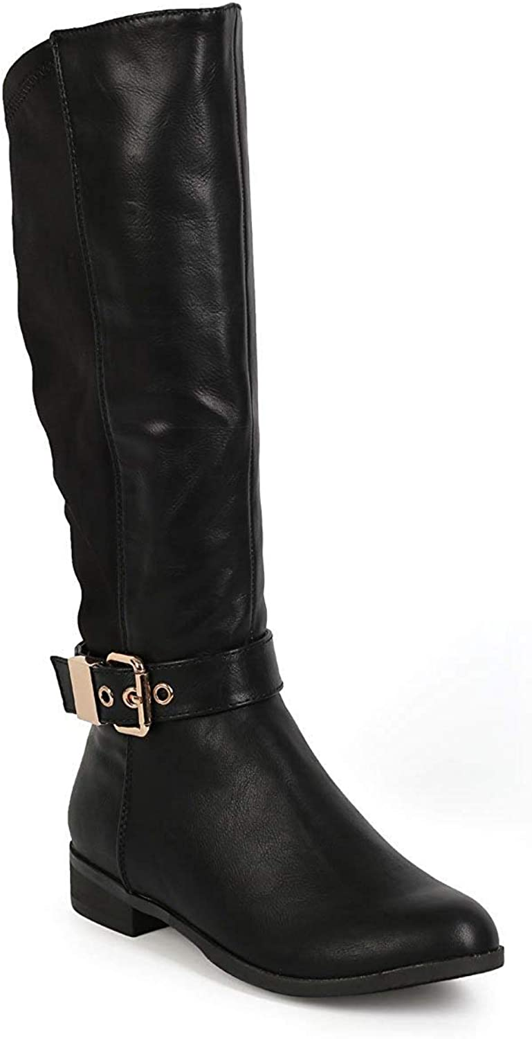 ZX Boots Women Leatherette Lycra Mid-Calf Buckle Stretch Riding Boot CI68