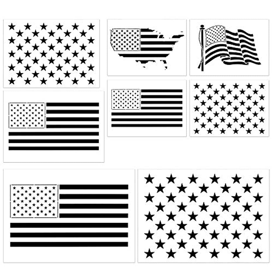 Stencils of The United States Flag, 8 Pcs Multi-Sizes 50 Stars and 13 Stripes Template USA Map for Journal, Wood, Paper, Fabric, Glass, and Wall Art Graffiti Drawing Painting
