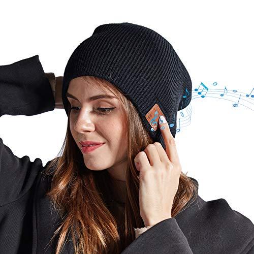 EasyULT Bluetooth Gorro Invierno, Unisex Gorro Bluetooth 5.0 música Recargable, Micrófono para Llamadas Manos Libres, Regalo para Hombres, Mujeres, para Deportes al Aire Libre(Negro)