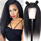 IFLY Brazilian Kinky Straight 4X4 Lace Front Human Hair Wigs 20 Inch Yaki Straight Human Wig Unprocessed Vigin Human Hair Lace Closure Wig 150% Density for Black Women Natural Color