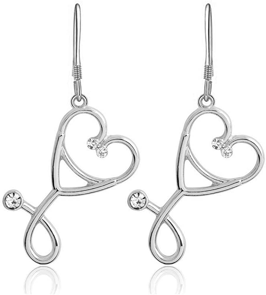 BELUCKIN Charm Stethoscope Dangle Earrings&Necklace for Women Love Heart Nurse Necklace for Doctors, Medical Student Jewelry Set