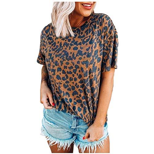 Janly Clearance Sale Camiseta de manga corta para mujer, estilo casual, suelta, sexy, con diseño de leopardo, cuello redondo, para verano (marrón/XXL)