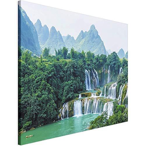 Revolio 70x50 cm Leinwandbild Wandbilder Wohnzimmer Modern Kunstdruck Design Wanddekoration Deko Bild auf Leinwand Bilder 1 Teilig - Felsen Wasserfall Natur Grün Blau