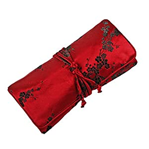 Silk Jewelry Roll Travel Case