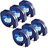 Aken - Cinta de Etiquetas compatible para usar en lugar de Dymo Letratag Recambio Cinta Plastico 12mm x 4m Negro sobre Blanco, Dymo Recambios S0721610 para Dymo Etiquetadoras LT-100h LT100T LT110T XR