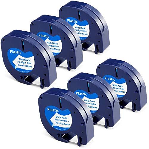 Aken kompatibel Etikettenband als Ersatz für Dymo Etikettenband 12mm x 4m Plastic white, Dymo Beschriftungsgerät Etiketten Schwarz auf Weiß für Dymo LetraTag XR LT110T LT100H LT100T, LT 91221 S0721660