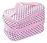 Women's Travel Size Pink Polka Dot Makeup & Cosmetic Bag with Eyebrow Eyelash Comb