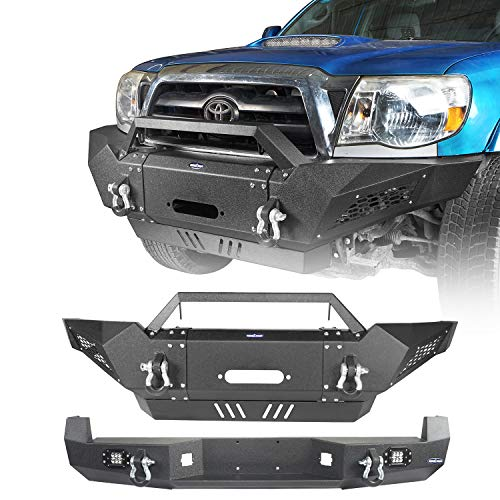 Hooke Road Tacoma Combo Bumpers Front Bumper w/Winch Plate and Rear Step Bumper w/D-Rings for Toyota Tacoma 2005-2015 2nd Gen Pickup Truck