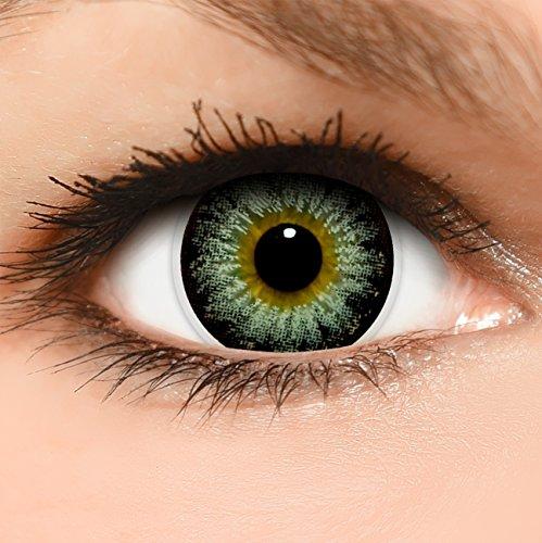 Circle Lenses graue 'Circle Grey' farbig ohne und mit Stärke + Behälter 14,50mm farbige Kontaktlinsen