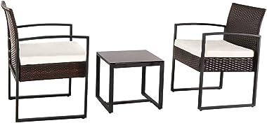 Lykos 3Pcs Outdoor Furniture Patio Rattan Wicker Leisure Sofa Set Sectional Garden Yard (Brwon)