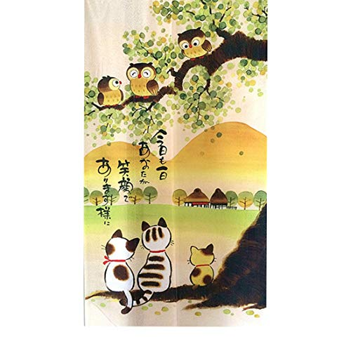 LIGICKY Japanese Style Noren Long Doorway Curtain Door Tapestry for Home Decoration 33.5 x 59 inch (Owls & Cats & Mountain)