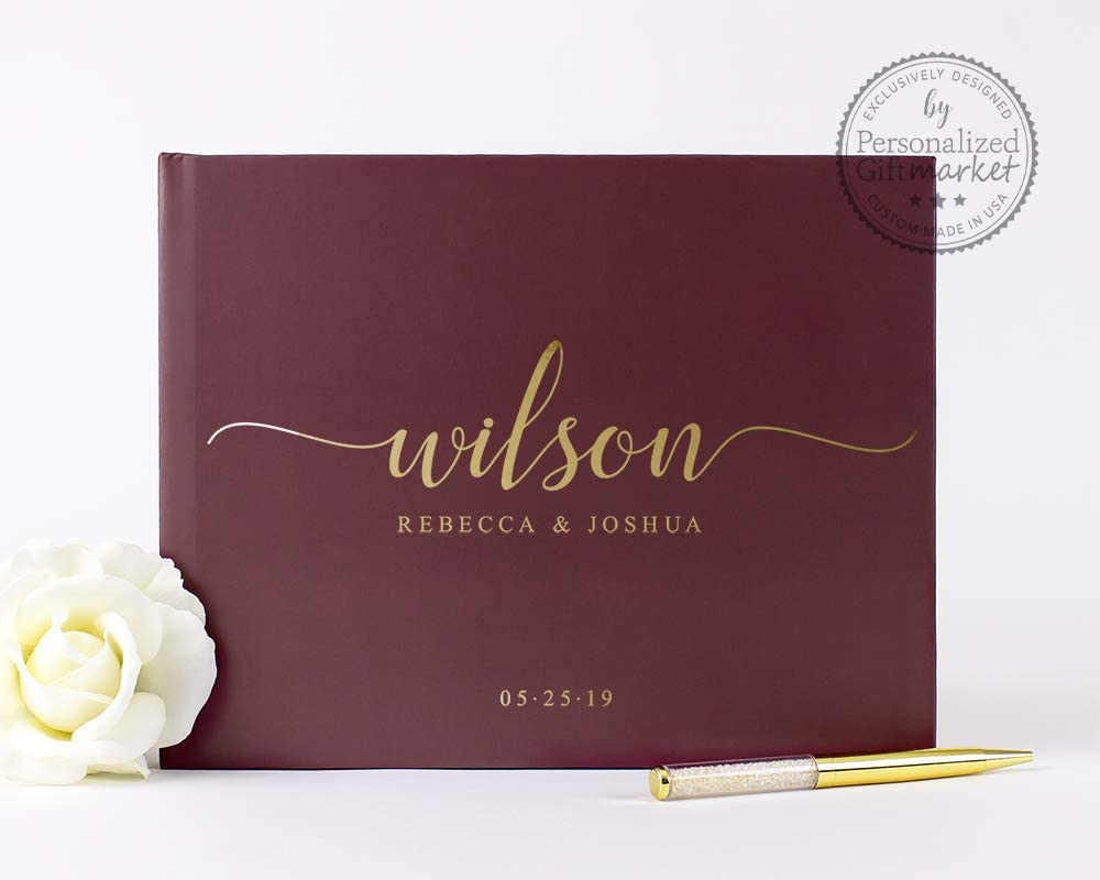Burgundy and Gold Wedding Guest 捧呈 Book with Pages Blank 低廉 Lined or
