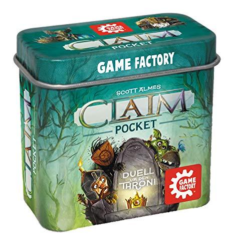 Game Factory 646260 Claim Pocket, Mini-Stichspiel in handlicher Metalldose, Duell um den Thron, ab 10 Jahren, für 2 Spieler