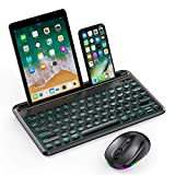 Backlit Bluetooth Keyboard and Mouse, Jelly Comb Multi-Device Illuminated Wireless Keyboard RGB Mouse for Mac OS, New iPad 10.2, iPad Air 4/3/2, iPad Pro 10.5/11/12.9, Android Tablet, Windows-Black