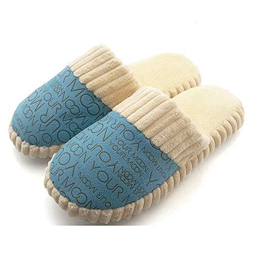 Calor y pantuflas antideslizantes de otoño e invierno, pantuflas de algodón para hombres y mujeres, zapatos de felpa suave con suela de goma para interiores