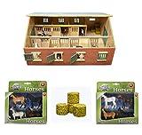 Van Manen Pferdestall Set (Stall aus Holz mit 7 Boxen, 4 Pferde farblich sortiert, 4 Heuballen)