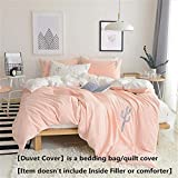 Mucalis Embroidered Cactus Duvet Cover Set Twin Kids Duvet Cover Cotton for Boys Girls Teens Reversible Peach White Bedding Duvet Cover Set with Zipper Closure-Hotel Quality,Soft,No Inside Filler