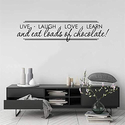 Kamer Muurstickers Quotes Live Lach Liefde Leren en Eet Loads van Chocolade voor Woonkamer Slaapkamer Home Decor 7in h