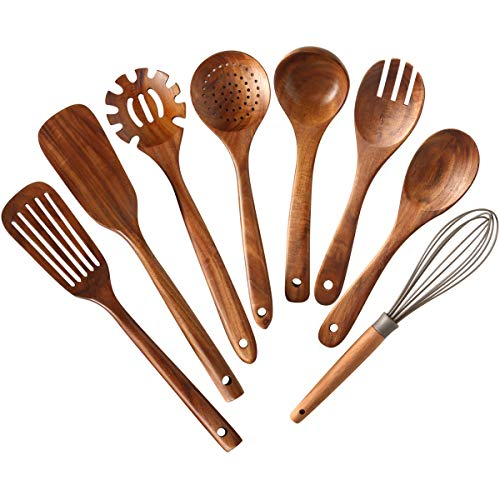 Wooden Kitchen Utensils set,NAYAHOSE Wooden Spoons for cooking Natural Teak Wood Kitchen Spatula Set for Cooking including Spoon Ladle Fork 8 Pack