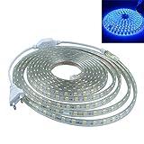 LEDMOMO 1 M RGB impermeable 5050 tira impermeable del LED luces led para decoración de fiesta de Navidad cumpleaños con enchufe de la UE (azul)