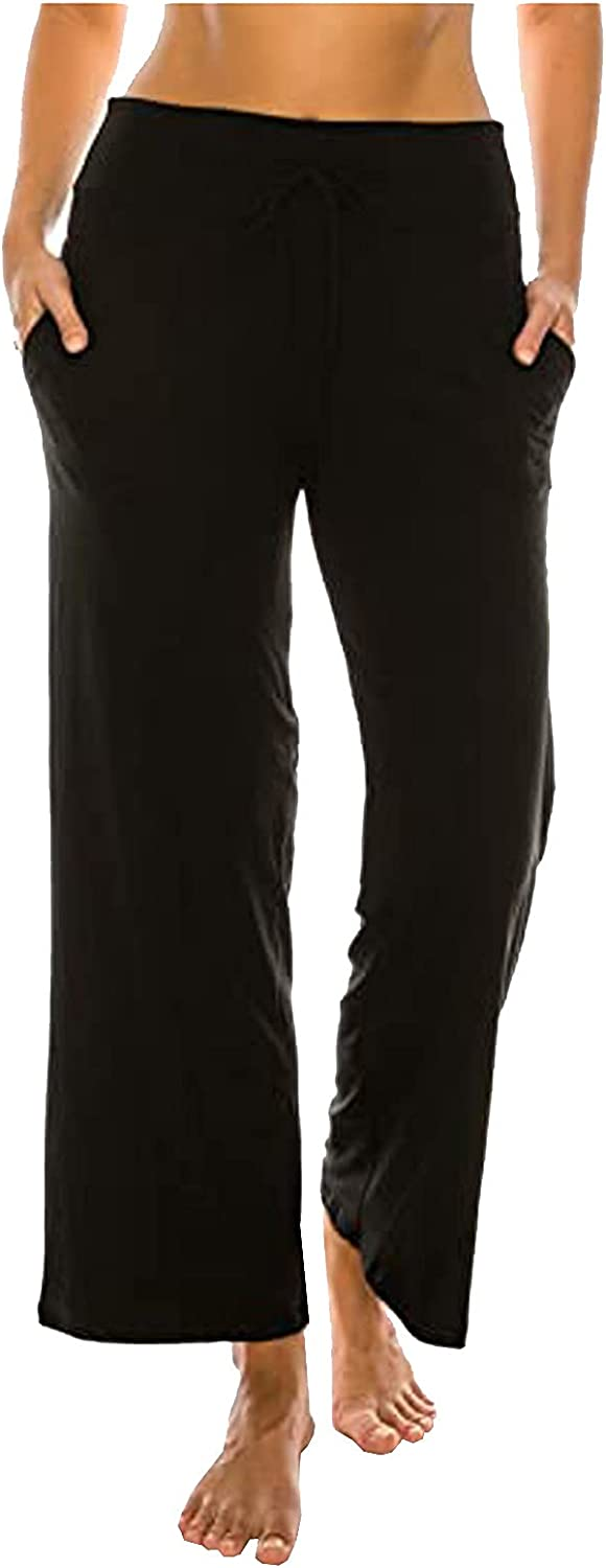 Womens Wide Leg Pants Middle-Waist Casual Pants Stretch Pull On Lounge Pants