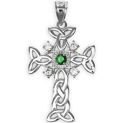 925 Sterling Silver Trinity Knot Diamond Celtic Cross Pendant with Genuine Emerald
