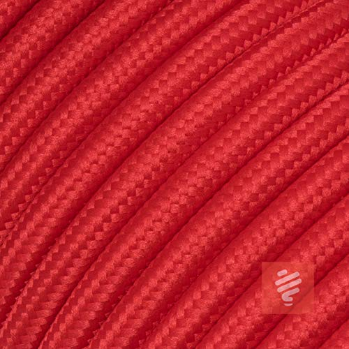 Textilkabel für Lampe, Stoffkabel 3-adrig (3x0,75mm²), Rot - 20 Meter