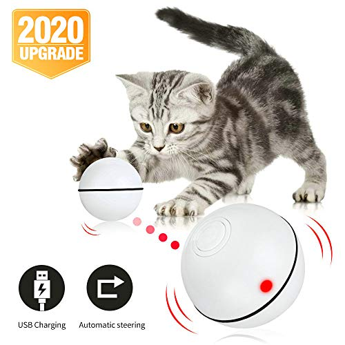 Pakoo Interactive Cat Toys Ball, Smart Automatic Rolling Kitten Toys, USB Rechargeable Motion Ball +...