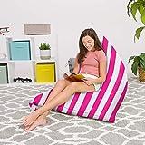 Posh Beanbags Bean Bag Chair, 200L-Large Twist, Canvas Stripes Pink and White