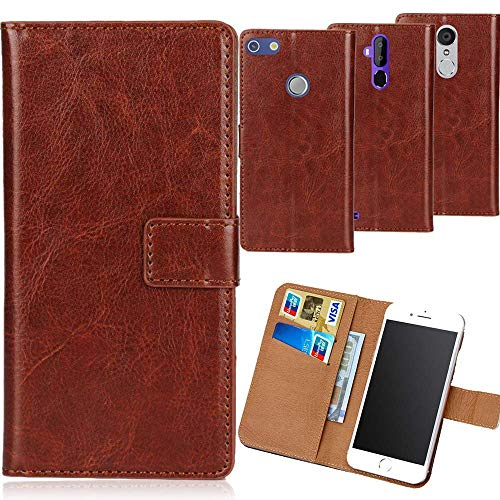 Dingshengk Braun Premium PU Leder Tasche Schutz Hülle Handy Hülle Wallet Cover Etui Ledertasche Für Oukitel K4000 Plus 5