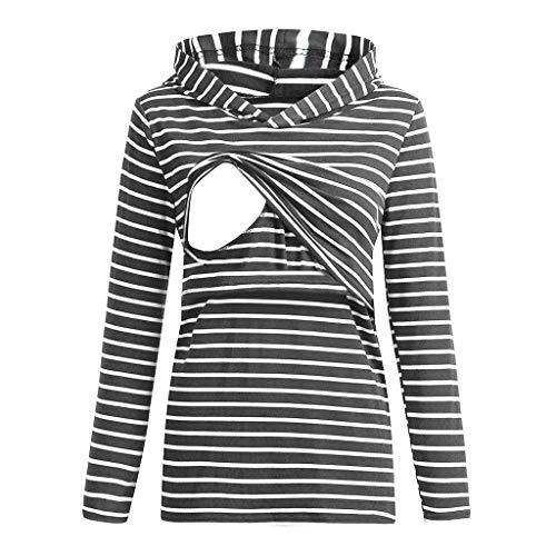 Mujer Jersey Invierno Premamá Tops de Suéter con Capucha de Lactancia con Capucha Estampado Rayas Manga Larga para Mujeres Embarazadas Ropa riou