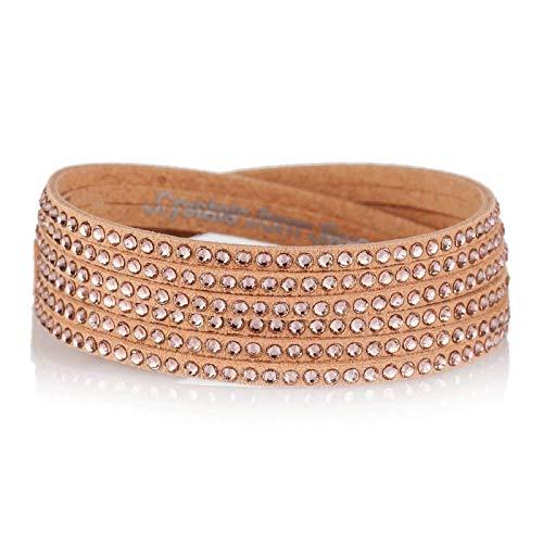 LA SENJA Swarovski Vintage Rose Sparkly Crystals Handmade Beige Slake Bracelet for Women, Double Wrap Around, Multistrand, Adjustable