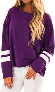 Qootent Women Fashion T-shirs Striped Sleeve Pullover Casual Tops Sweatshirts
