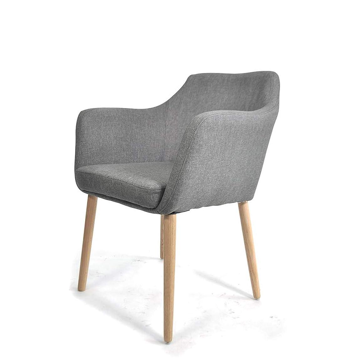洞察力道徳教育謙虚ダイニングチェア リビングチェア 肉厚クッション付き 北欧 イームズ チェア ファブリック 食卓椅子 肘付き 木製 椅子 イス グレー SD-9027GY